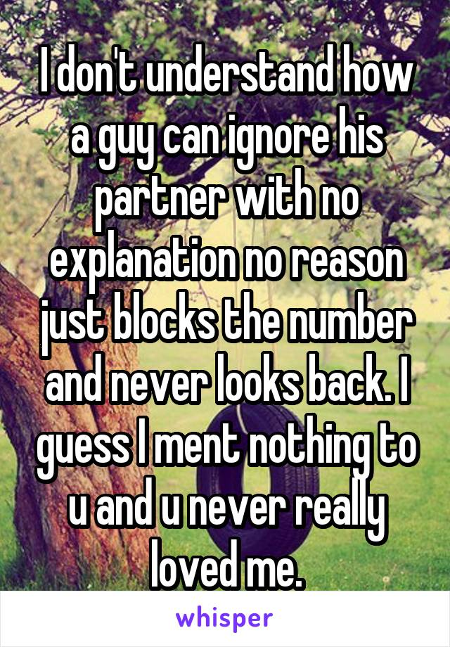 I don't understand how a guy can ignore his partner with no explanation no reason just blocks the number and never looks back. I guess I ment nothing to u and u never really loved me.