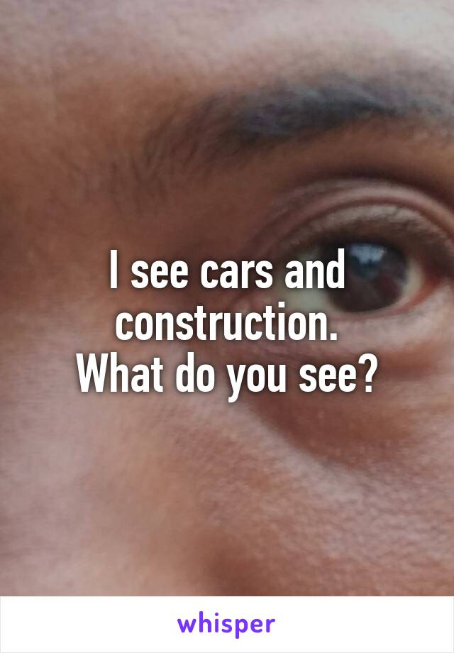 I see cars and construction. What do you see?