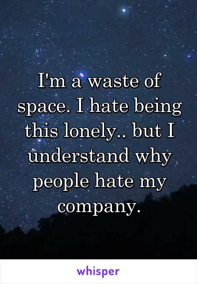 I'm a waste of space. I hate being this lonely.. but I understand why people hate my company.