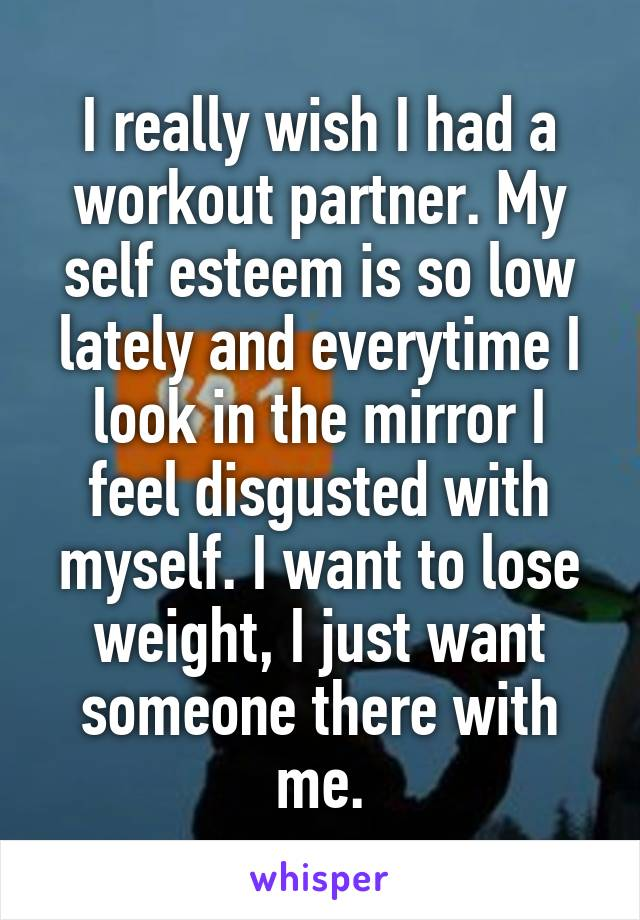 I really wish I had a workout partner. My self esteem is so low lately and everytime I look in the mirror I feel disgusted with myself. I want to lose weight, I just want someone there with me.