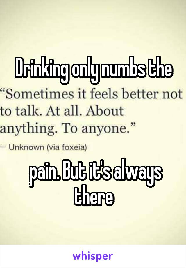 Drinking only numbs the     pain. But it's always there