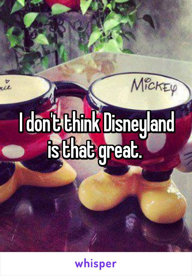 I don't think Disneyland is that great.