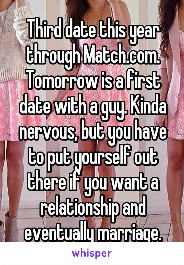 Third date this year through Match.com. Tomorrow is a first date with a guy. Kinda nervous, but you have to put yourself out there if you want a relationship and eventually marriage.