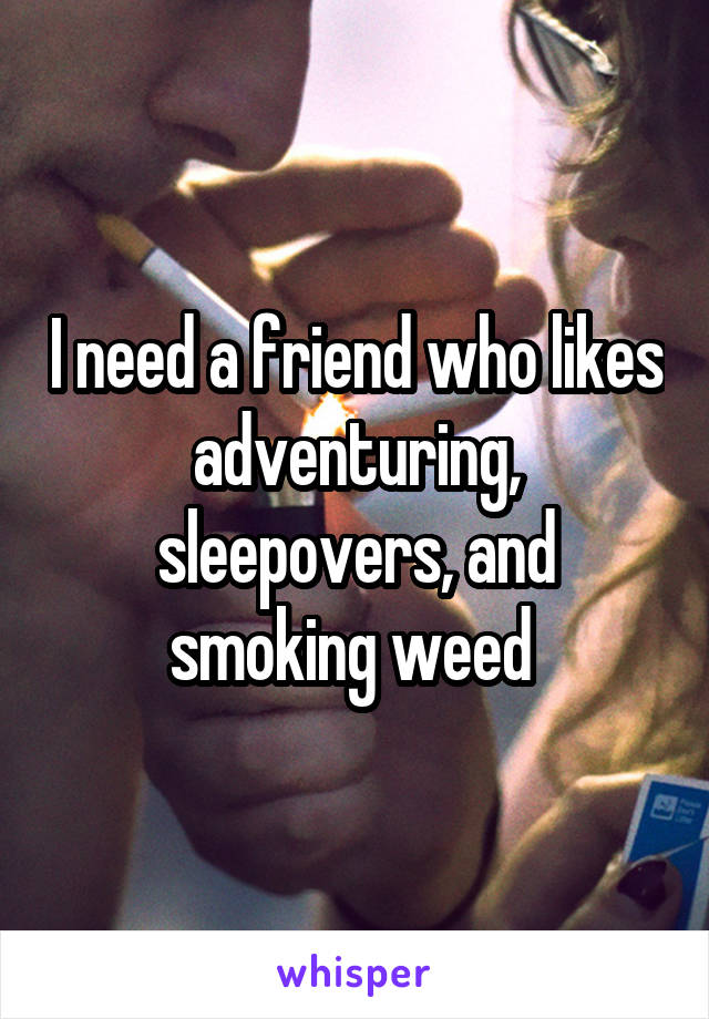 I need a friend who likes adventuring, sleepovers, and smoking weed
