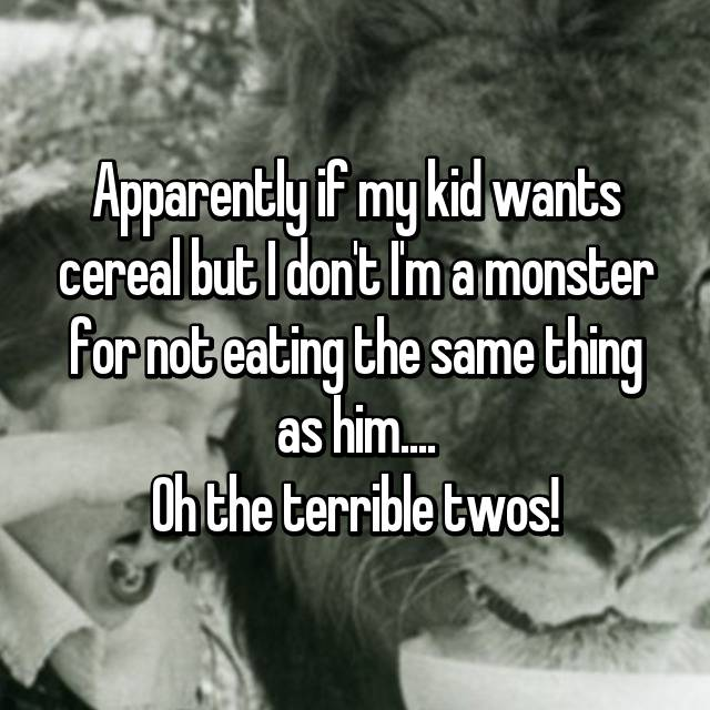 Apparently if my kid wants cereal but I don't I'm a monster for not eating the same thing as him.... Oh the terrible twos! 😂