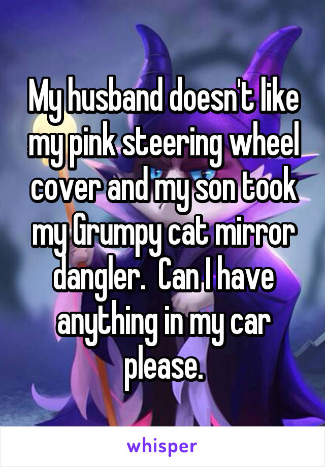 My husband doesn't like my pink steering wheel cover and my son took my Grumpy cat mirror dangler.  Can I have anything in my car please.