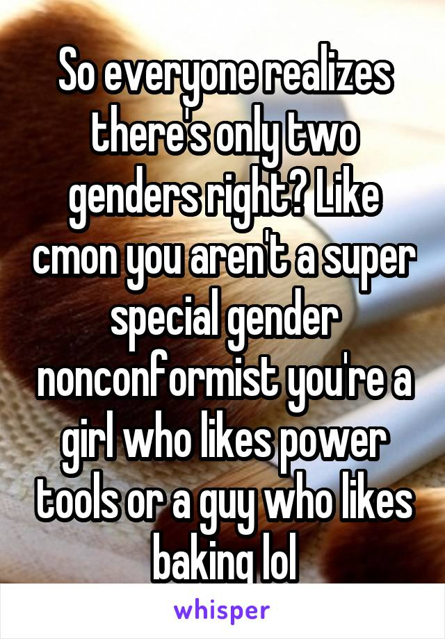 So everyone realizes there's only two genders right? Like cmon you aren't a super special gender nonconformist you're a girl who likes power tools or a guy who likes baking lol