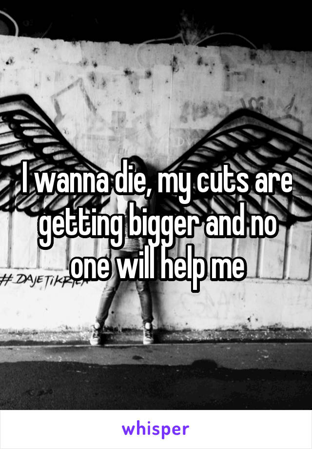 I wanna die, my cuts are getting bigger and no one will help me