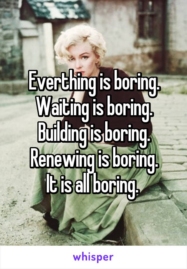 Everthing is boring. Waiting is boring. Building is boring. Renewing is boring. It is all boring.