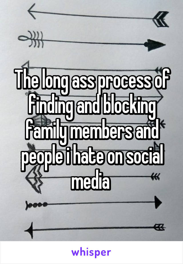 The long ass process of finding and blocking family members and people i hate on social media