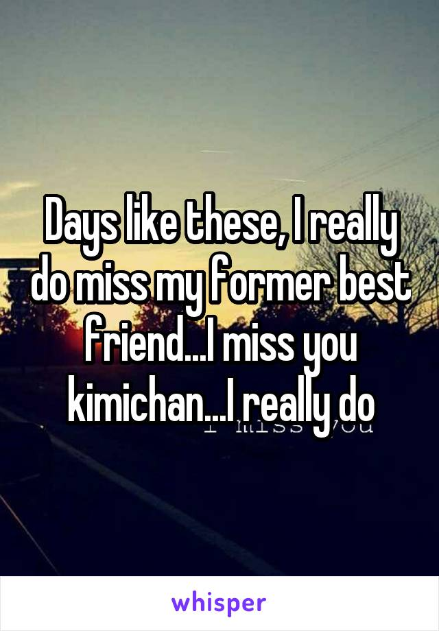 Days like these, I really do miss my former best friend...I miss you kimichan...I really do