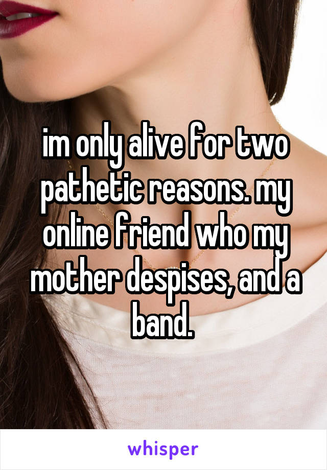im only alive for two pathetic reasons. my online friend who my mother despises, and a band.