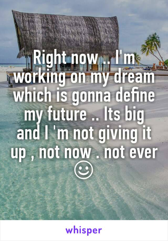Right now .. I'm working on my dream which is gonna define my future .. Its big and I 'm not giving it up , not now . not ever ☺
