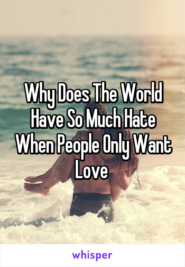 Why Does The World Have So Much Hate When People Only Want Love