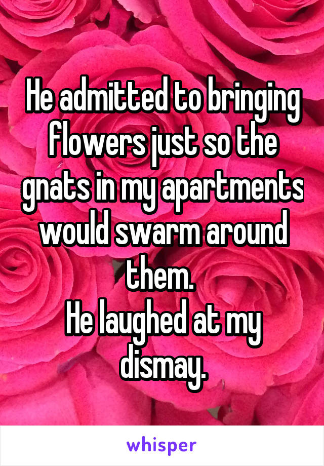 He admitted to bringing flowers just so the gnats in my apartments would swarm around them.  He laughed at my dismay.