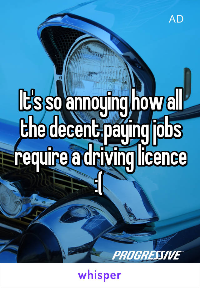 It's so annoying how all the decent paying jobs require a driving licence :(