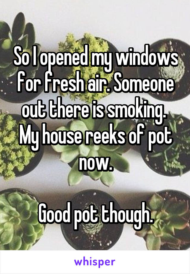 So I opened my windows for fresh air. Someone out there is smoking.  My house reeks of pot now.  Good pot though.