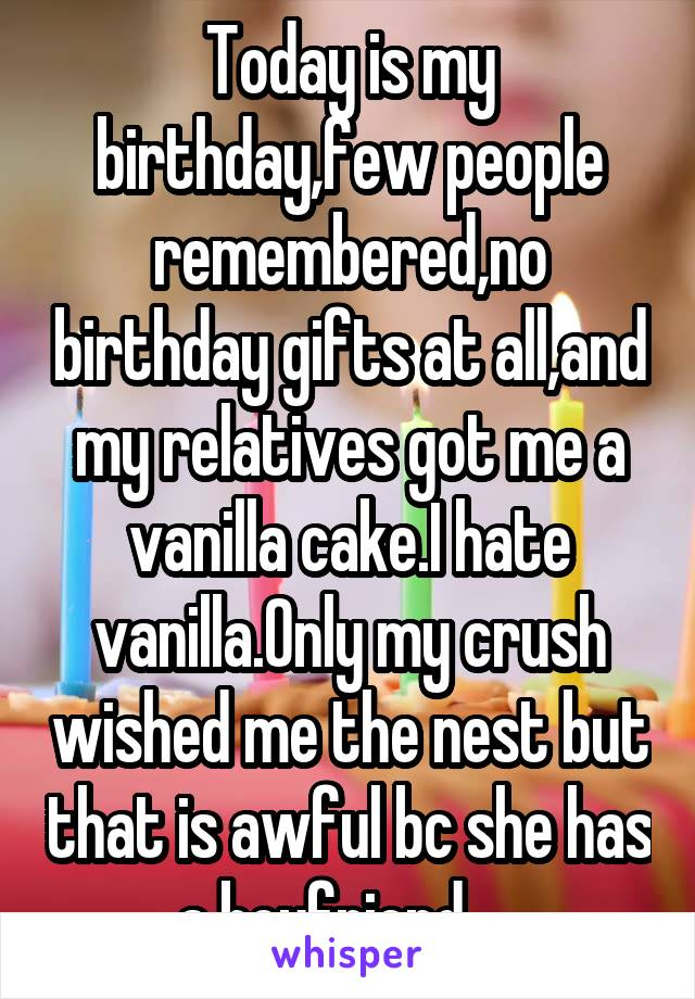 Today is my birthday,few people remembered,no birthday gifts at all,and my relatives got me a vanilla cake.I hate vanilla.Only my crush wished me the nest but that is awful bc she has a boyfriend.....