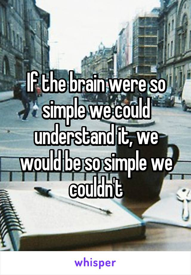 If the brain were so simple we could understand it, we would be so simple we couldn't
