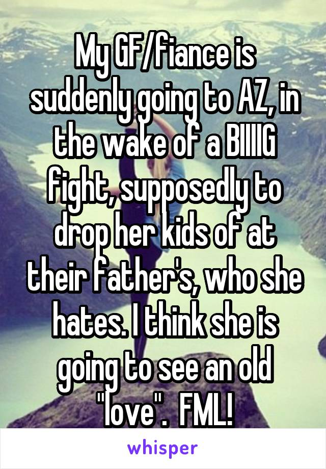 """My GF/fiance is suddenly going to AZ, in the wake of a BIIIIG fight, supposedly to drop her kids of at their father's, who she hates. I think she is going to see an old """"love"""".  FML!"""
