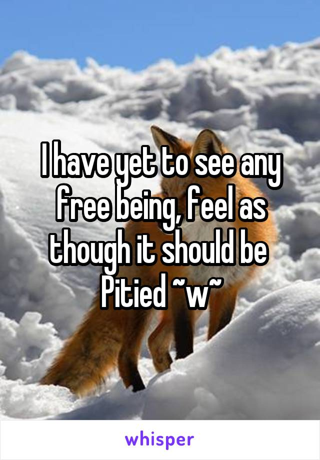 I have yet to see any free being, feel as though it should be  Pitied ~w~