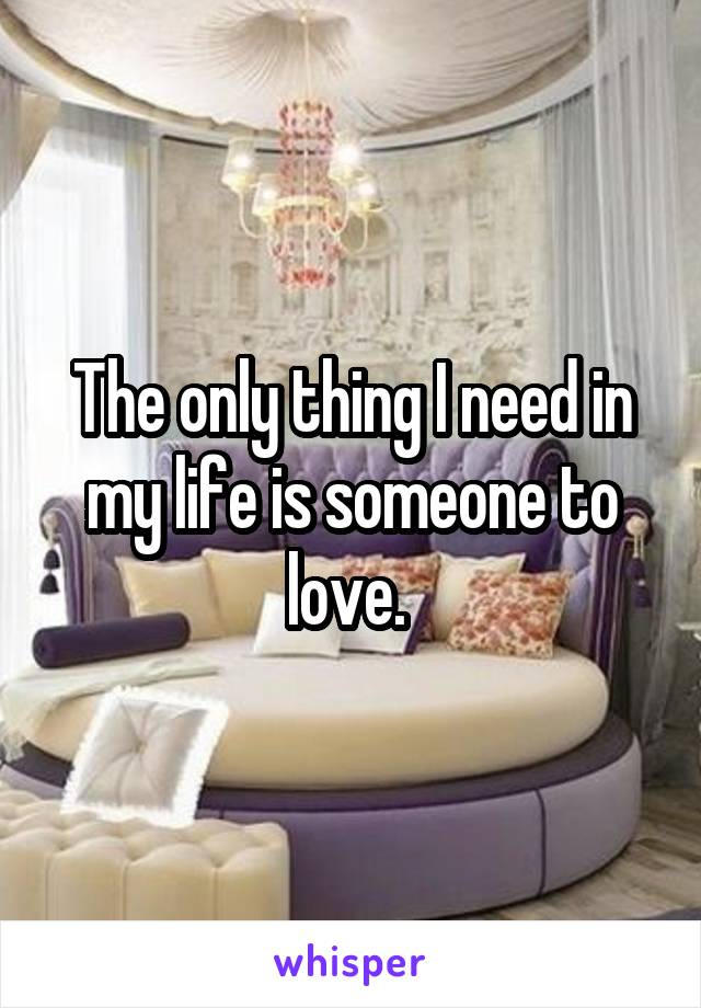 The only thing I need in my life is someone to love.