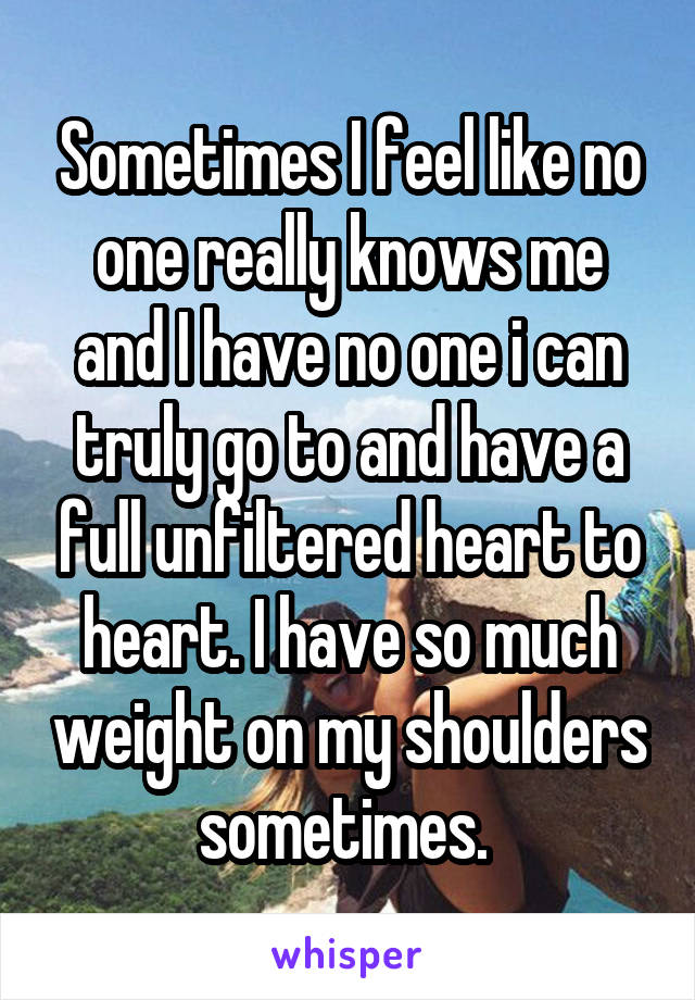 Sometimes I feel like no one really knows me and I have no one i can truly go to and have a full unfiltered heart to heart. I have so much weight on my shoulders sometimes.
