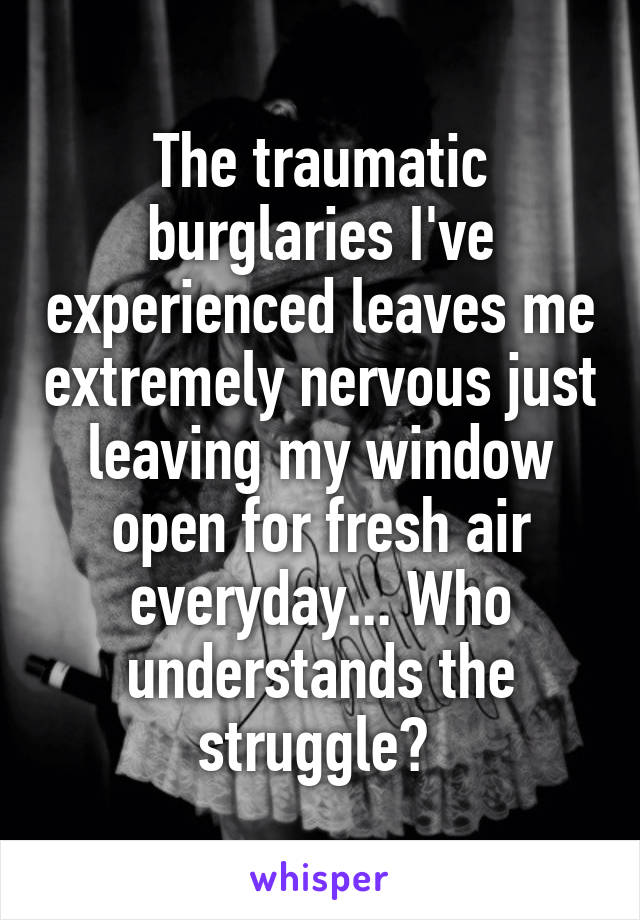 The traumatic burglaries I've experienced leaves me extremely nervous just leaving my window open for fresh air everyday... Who understands the struggle?