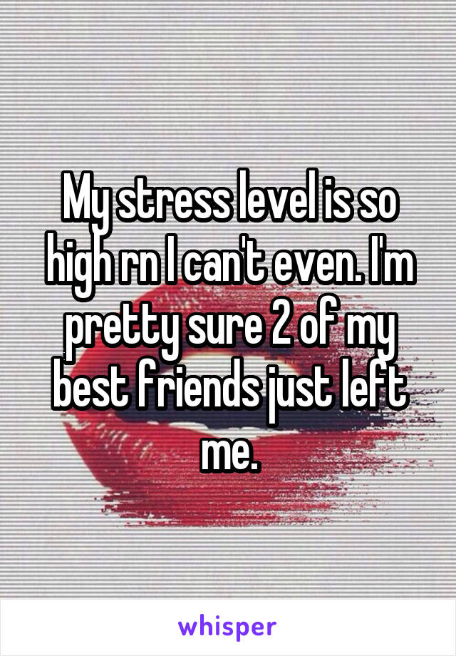 My stress level is so high rn I can't even. I'm pretty sure 2 of my best friends just left me.