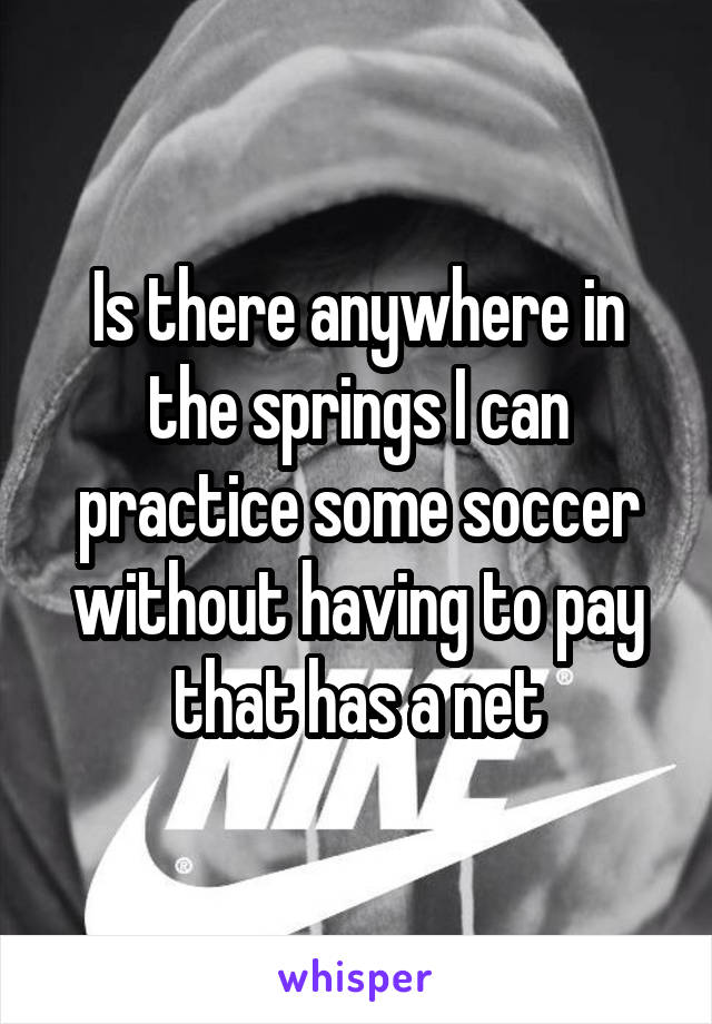 Is there anywhere in the springs I can practice some soccer without having to pay that has a net