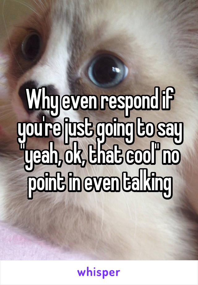 """Why even respond if you're just going to say """"yeah, ok, that cool"""" no point in even talking"""