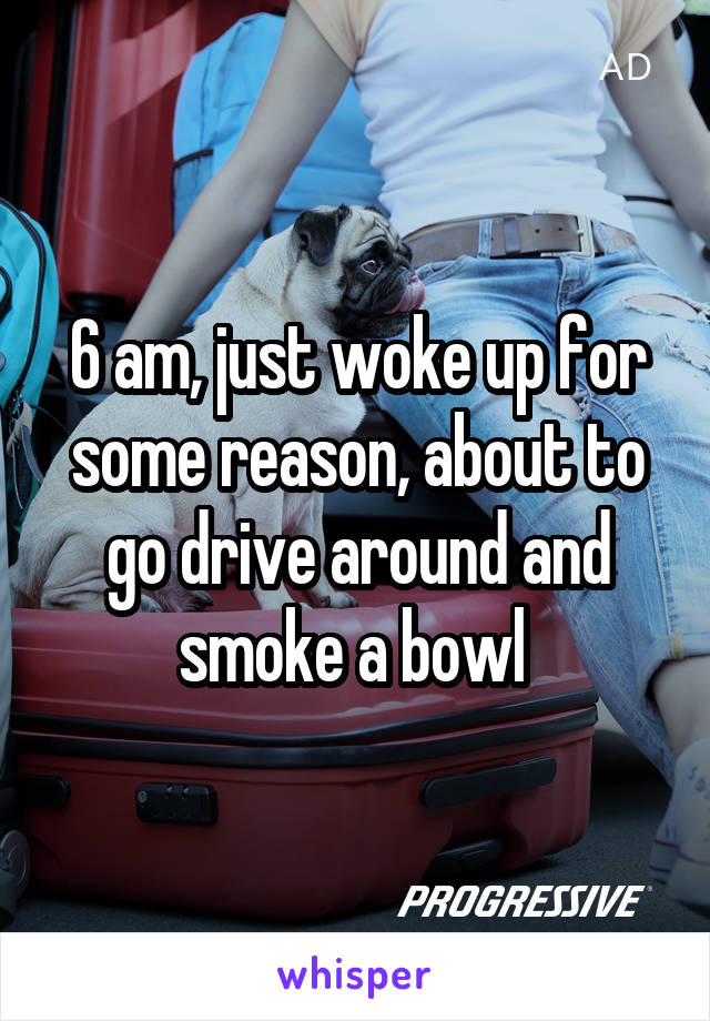 6 am, just woke up for some reason, about to go drive around and smoke a bowl