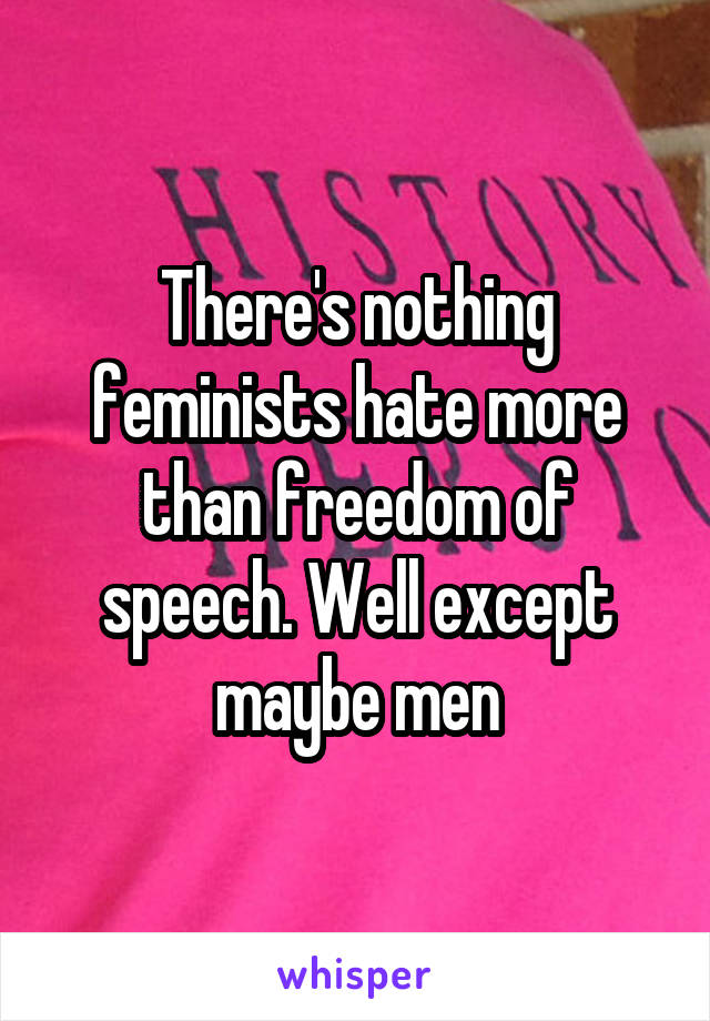There's nothing feminists hate more than freedom of speech. Well except maybe men