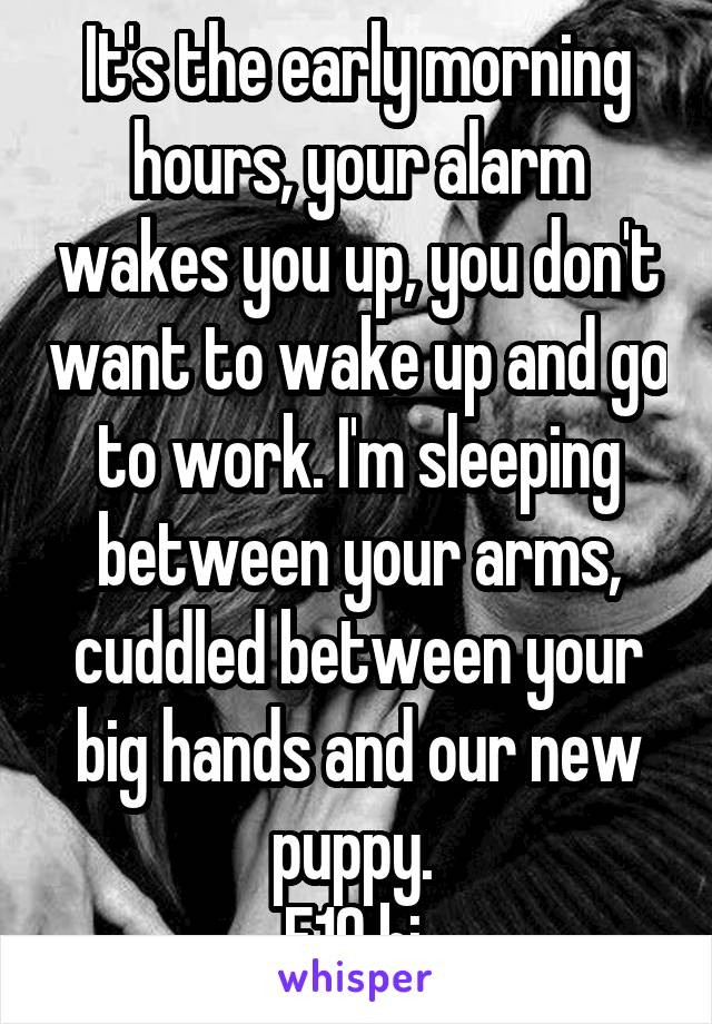 It's the early morning hours, your alarm wakes you up, you don't want to wake up and go to work. I'm sleeping between your arms, cuddled between your big hands and our new puppy.  F19 bi
