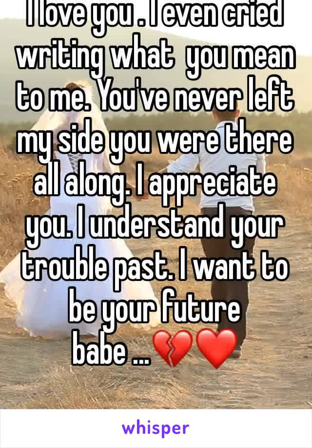 I love you . I even cried writing what  you mean to me. You've never left my side you were there all along. I appreciate you. I understand your trouble past. I want to be your future babe ...💔❤️