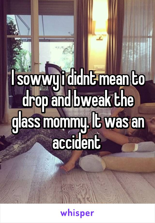 I sowwy i didnt mean to drop and bweak the glass mommy. It was an accident
