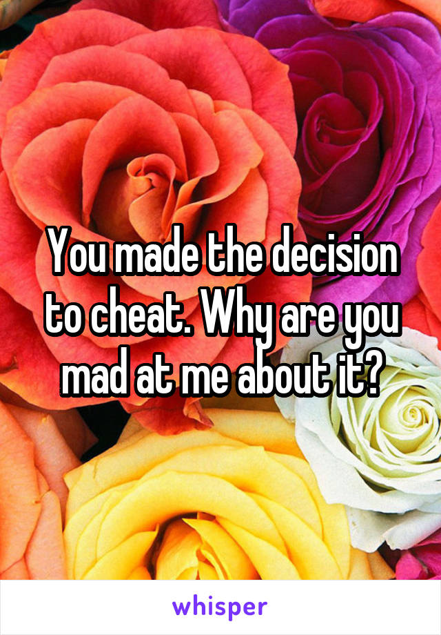 You made the decision to cheat. Why are you mad at me about it?