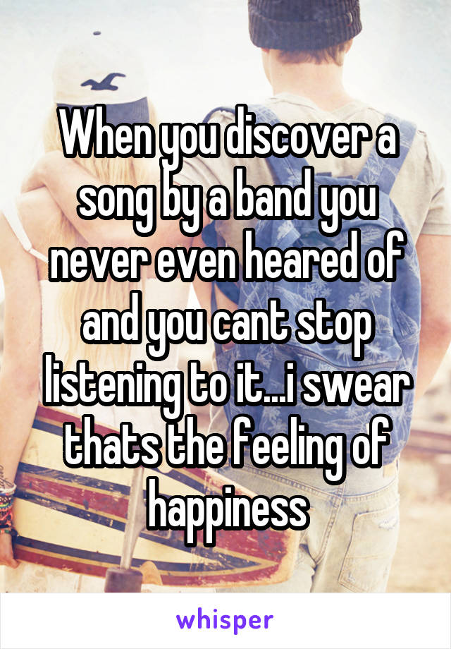 When you discover a song by a band you never even heared of and you cant stop listening to it...i swear thats the feeling of happiness