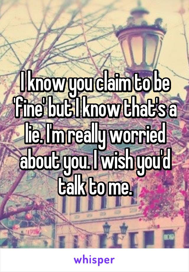 I know you claim to be 'fine' but I know that's a lie. I'm really worried about you. I wish you'd talk to me.