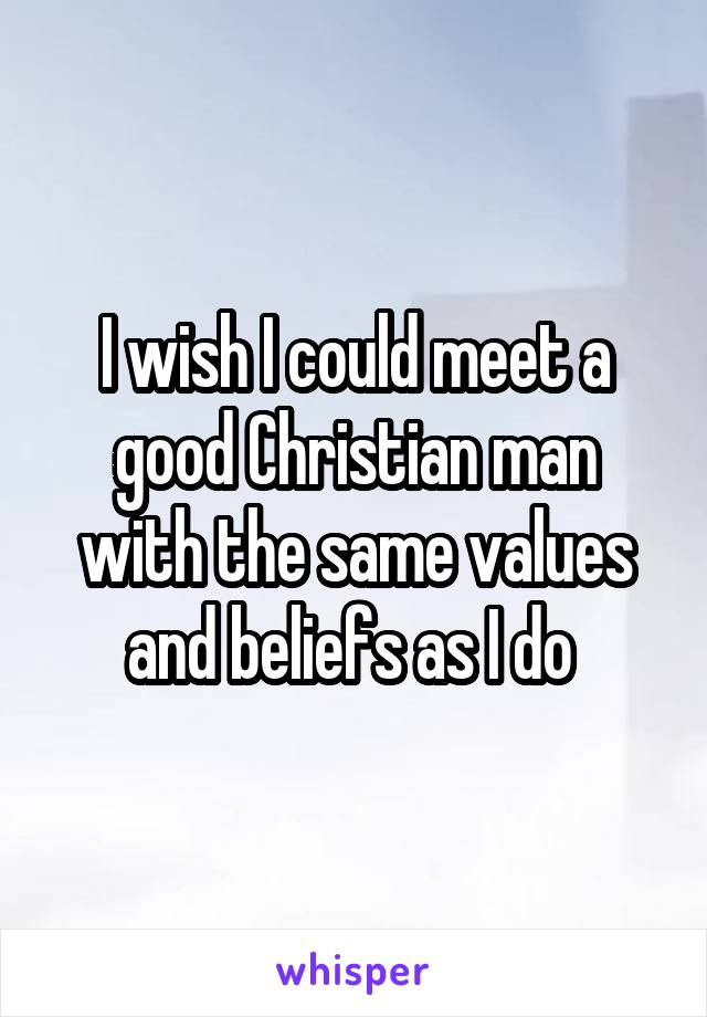I wish I could meet a good Christian man with the same values and beliefs as I do