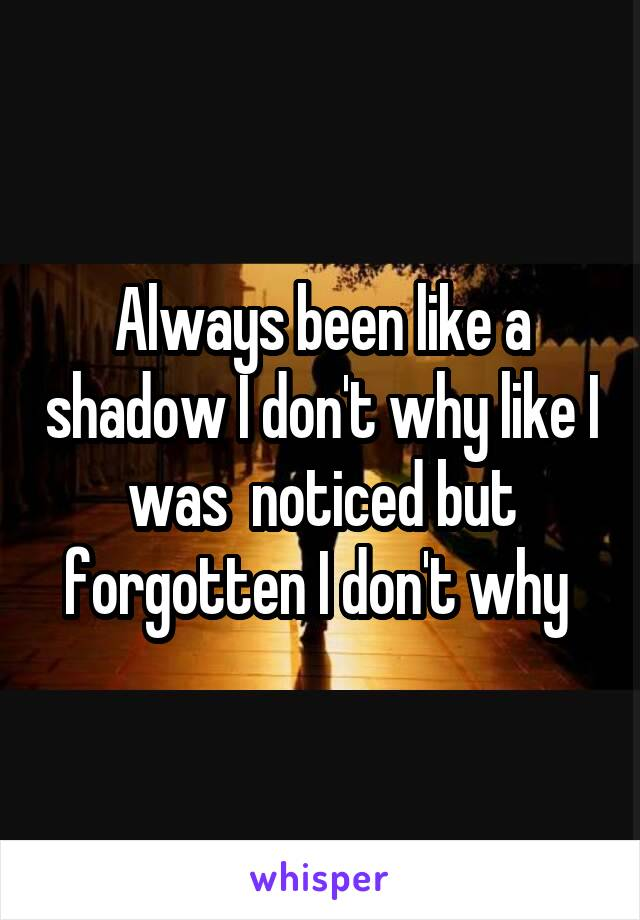 Always been like a shadow I don't why like I was  noticed but forgotten I don't why