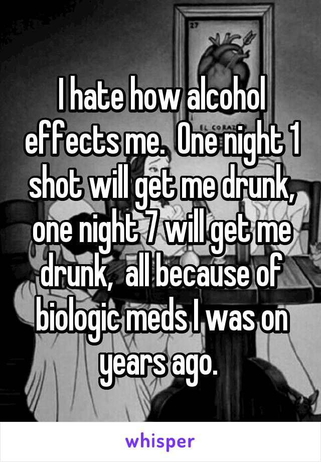 I hate how alcohol effects me.  One night 1 shot will get me drunk, one night 7 will get me drunk,  all because of biologic meds I was on years ago.