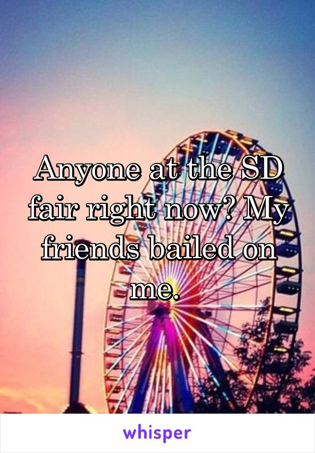 Anyone at the SD fair right now? My friends bailed on me.