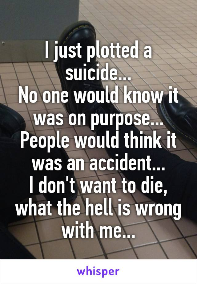 I just plotted a suicide... No one would know it was on purpose... People would think it was an accident... I don't want to die, what the hell is wrong with me...