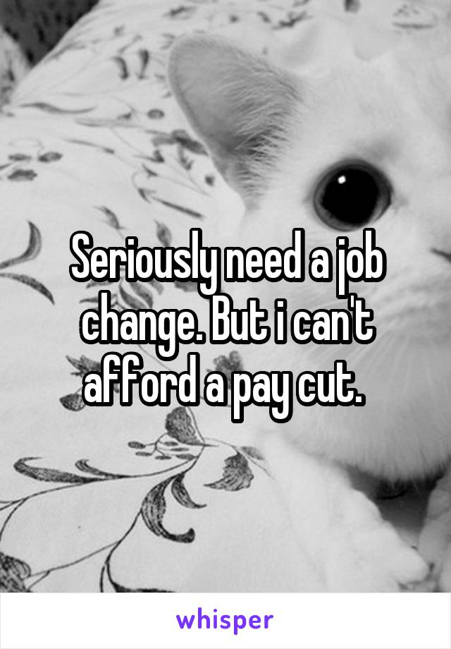 Seriously need a job change. But i can't afford a pay cut.