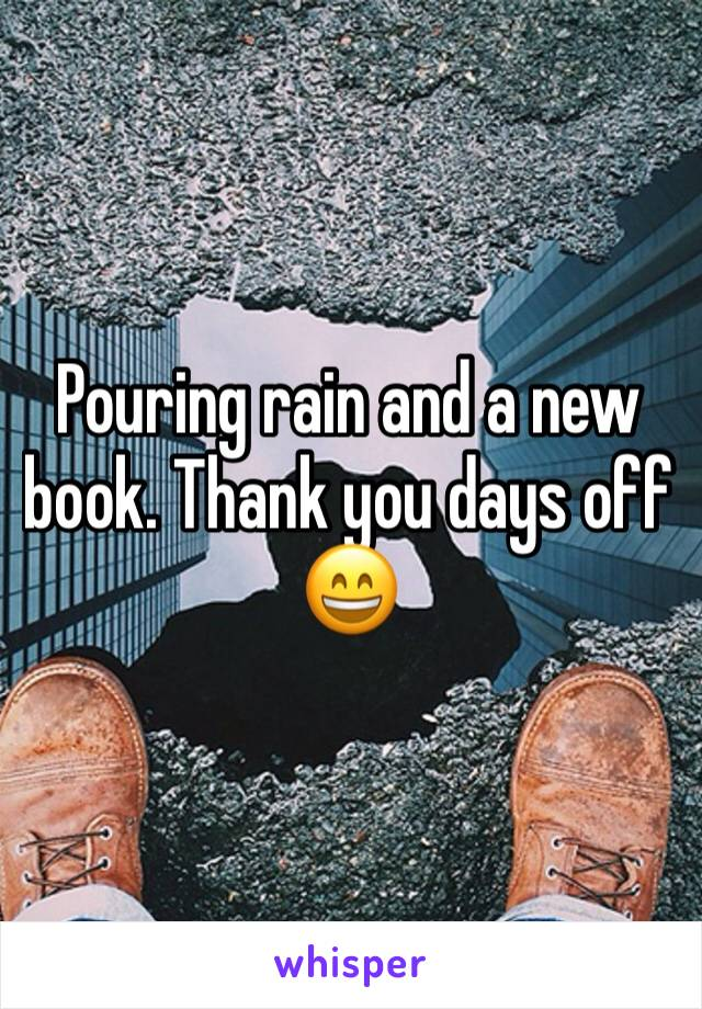 Pouring rain and a new book. Thank you days off 😄