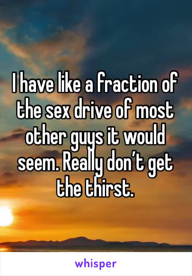 I have like a fraction of the sex drive of most other guys it would seem. Really don't get the thirst.