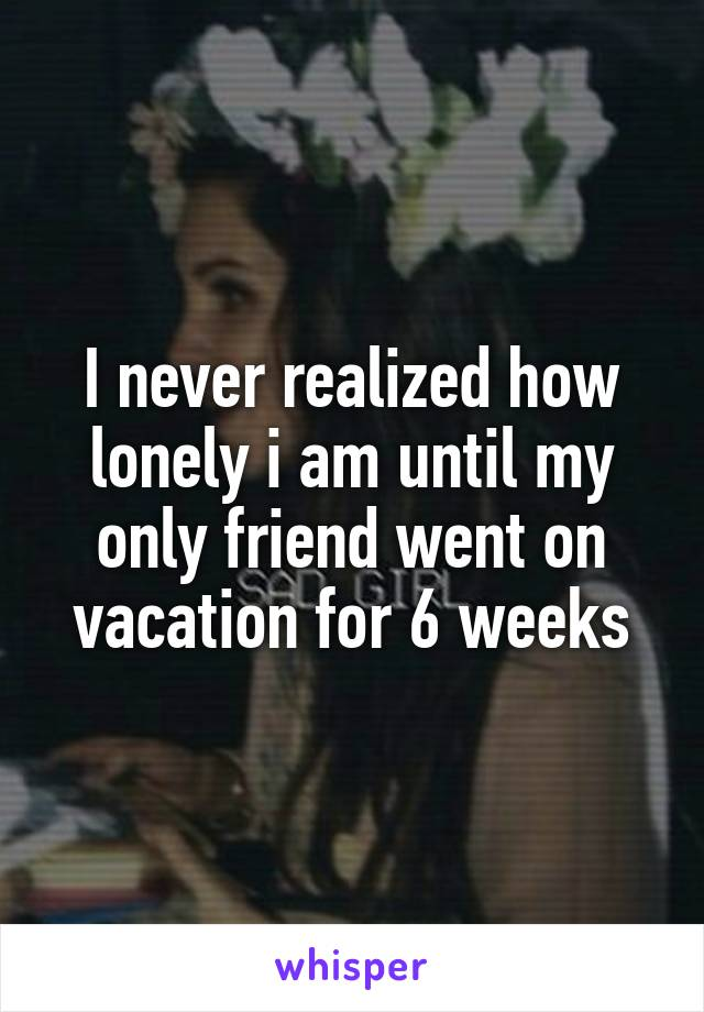 I never realized how lonely i am until my only friend went on vacation for 6 weeks