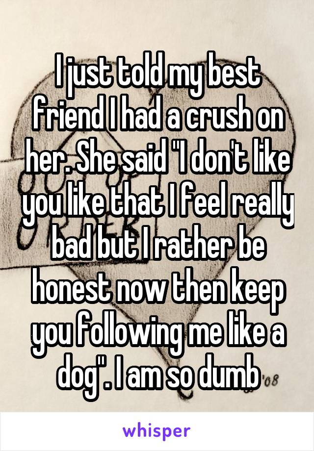 """I just told my best friend I had a crush on her. She said """"I don't like you like that I feel really bad but I rather be honest now then keep you following me like a dog"""". I am so dumb"""