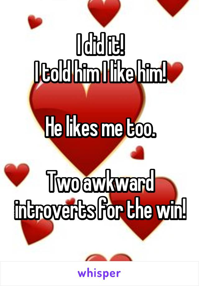I did it! I told him I like him!  He likes me too.  Two awkward introverts for the win!